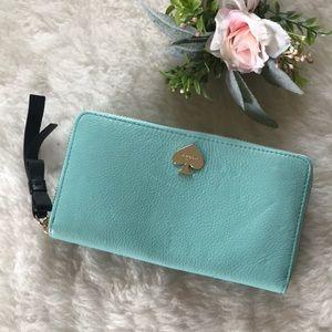Tiffany blue Kate Spade Lacey zip wallet clutch